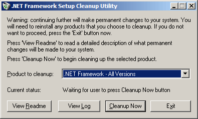 скриншот NET Framework Cleanup Tool