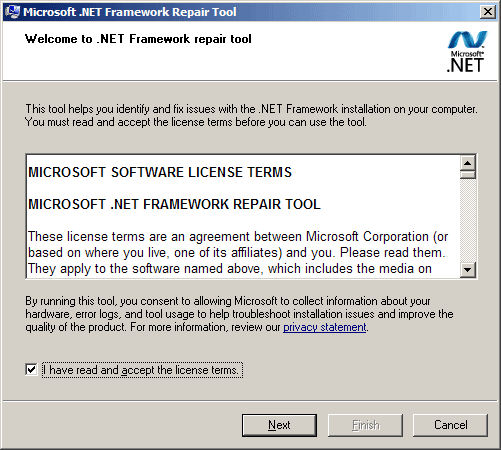 Начальное окно Microsoft .NET Framework Repair Tool