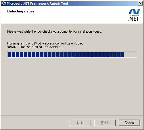 Процесс дигностики Microsoft .NET Framework Repair Tool
